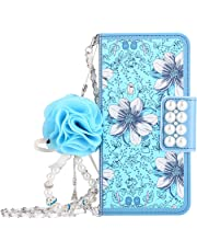 Leather Wallet Case iPhone 6,iPhone 6S Women HandBag Case with Chian,Gostyle Fashionable Luxury Blue Flowers Pattern PU Flip Magnetic Case with Credit Card Holder and Wristlet Strap.