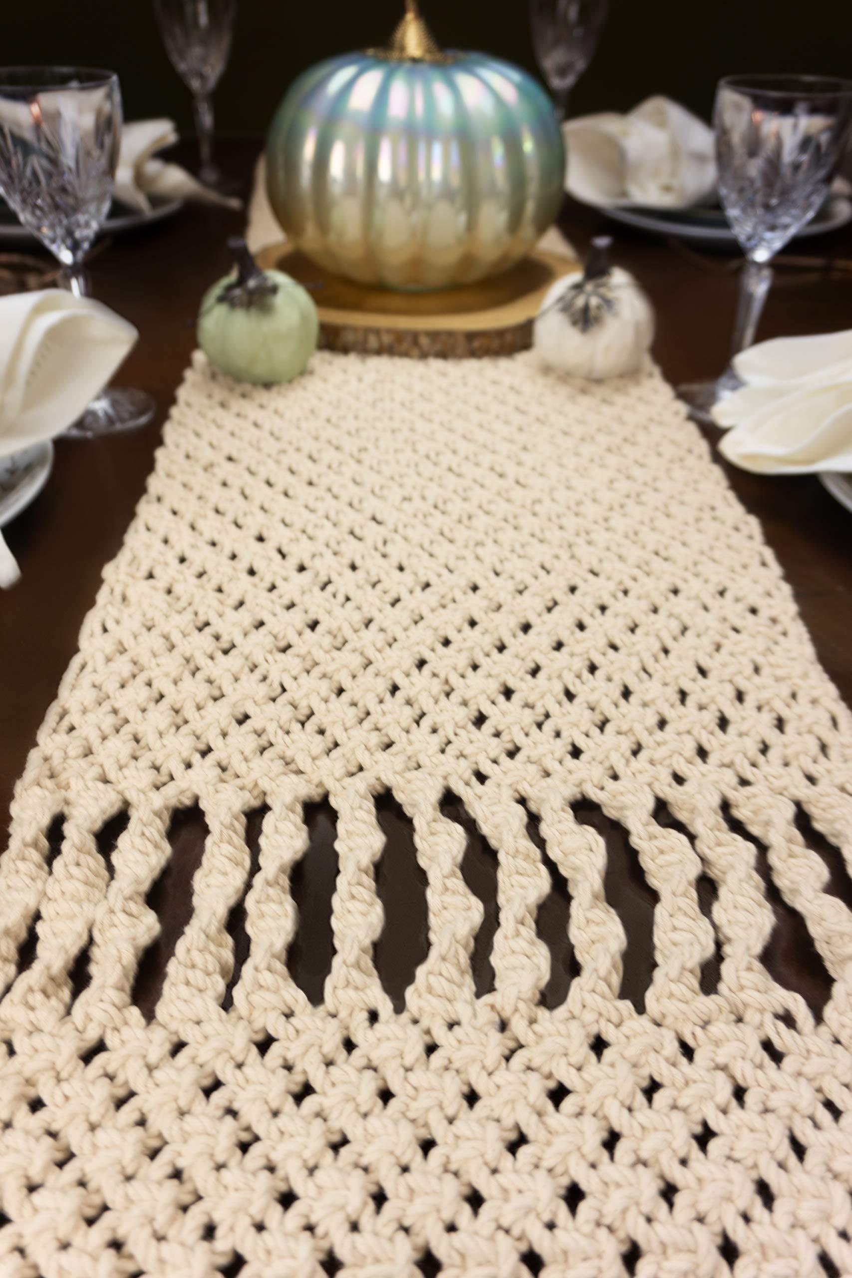 Aura Design's Macrame Table Runner - 96 x 14 Inch Cotton Handwoven Boho Wedding Table Decor Farmhouse and Bohemian Dining Room Kitchen Decor, Dresser Decor by Aura Design's