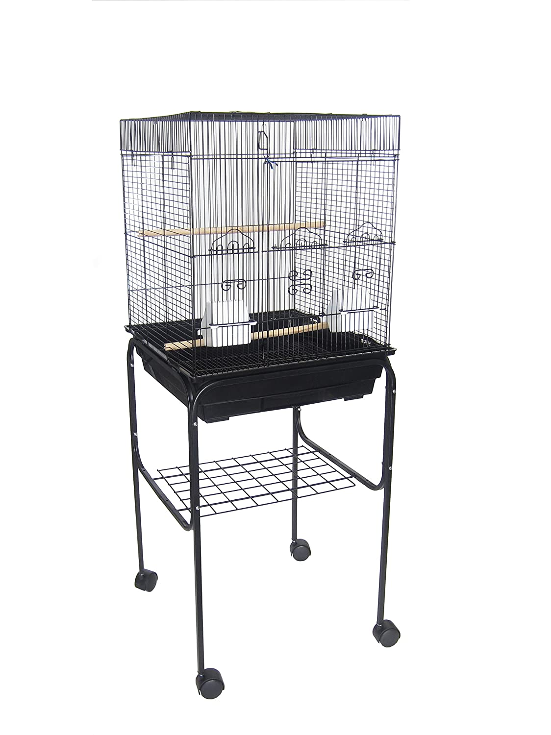Yml 5824 3/8-Inch Bar Spacing SquareTop Small Bird Cage with Stand-18-Inch X14-Inch in Black 5824_4814BLK