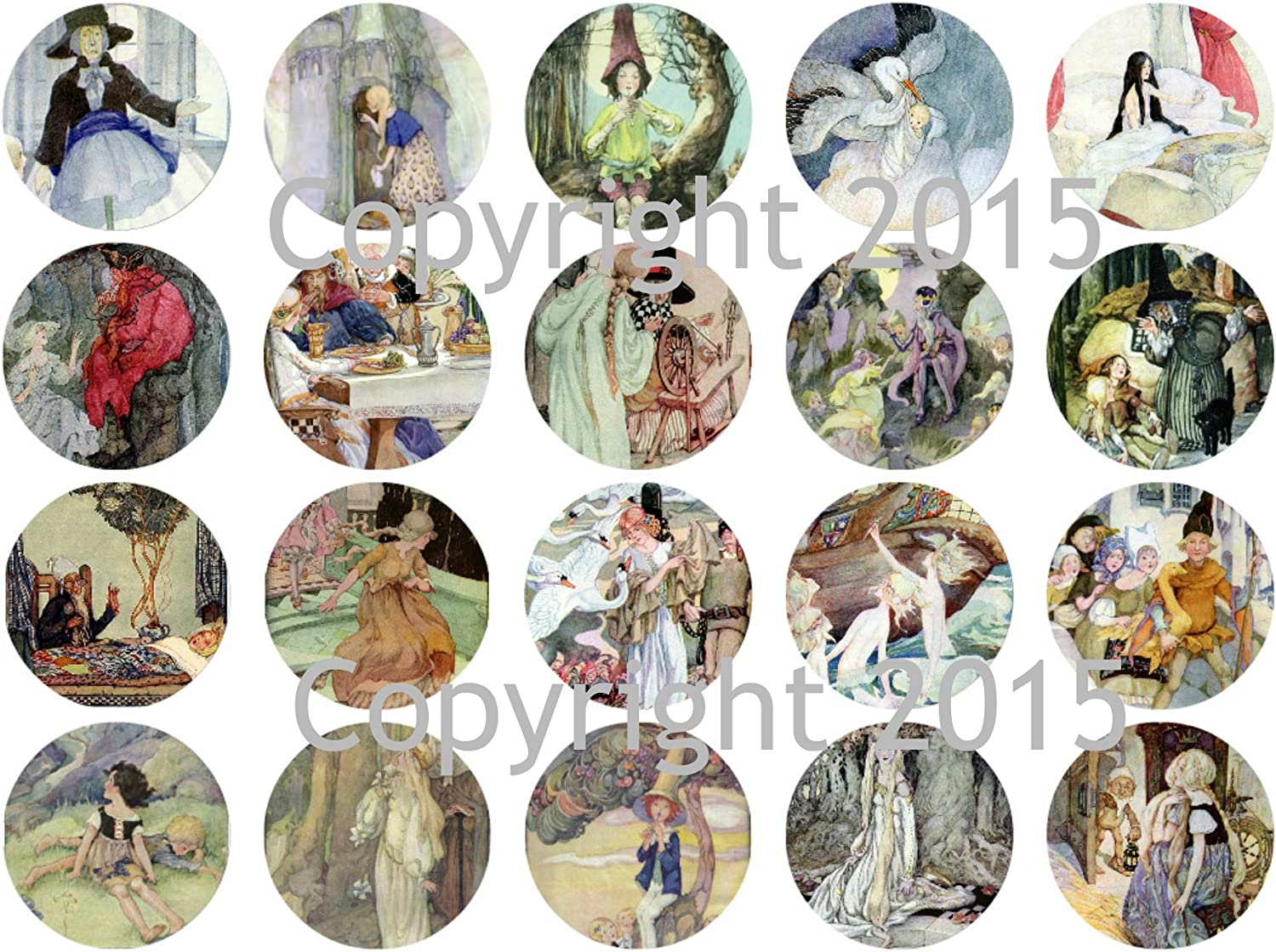 Anne Anderson Fairy Talesl 1 3//4 Circles Collage Sheet