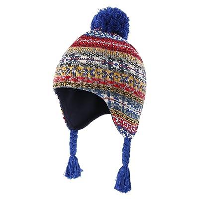 Home Prefer Toddler Boys Winter Hats Cotton Fleece Knitted Peruvian Earflaps Hat