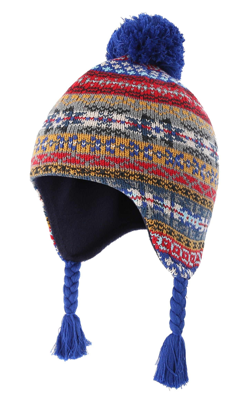 Home Prefer Toddler Boys Winter Hats Cotton Fleece Lined Knitted Fair Isle Peruvian Earflaps Hat Medium