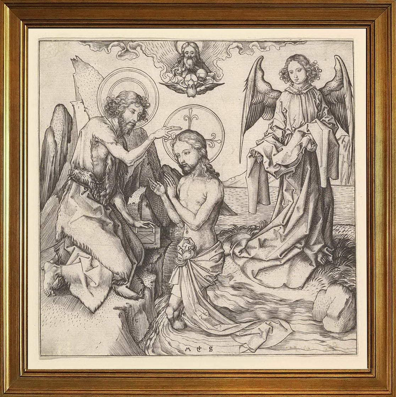 Berkin Arts Martin Schongauer Classic Framed Giclee Print On Canvas-Famous Paintings Fine Art Poster-Reproduction Wall Decor(Baptism of Christ) #JK