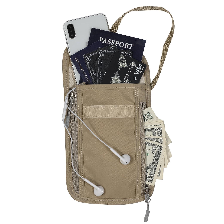 Hynes Eagle Travel Passport Wallet RFID Blocking Passport Holder Neck for Men Women