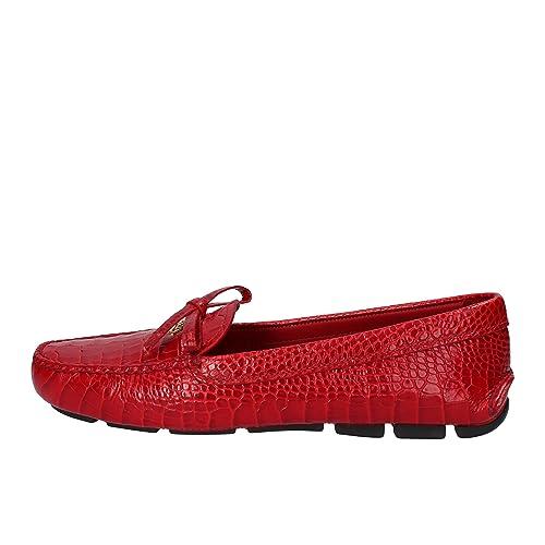 Prada - Mocasines de Piel para mujer rojo rojo rojo Size: 36: Amazon.es: Zapatos y complementos