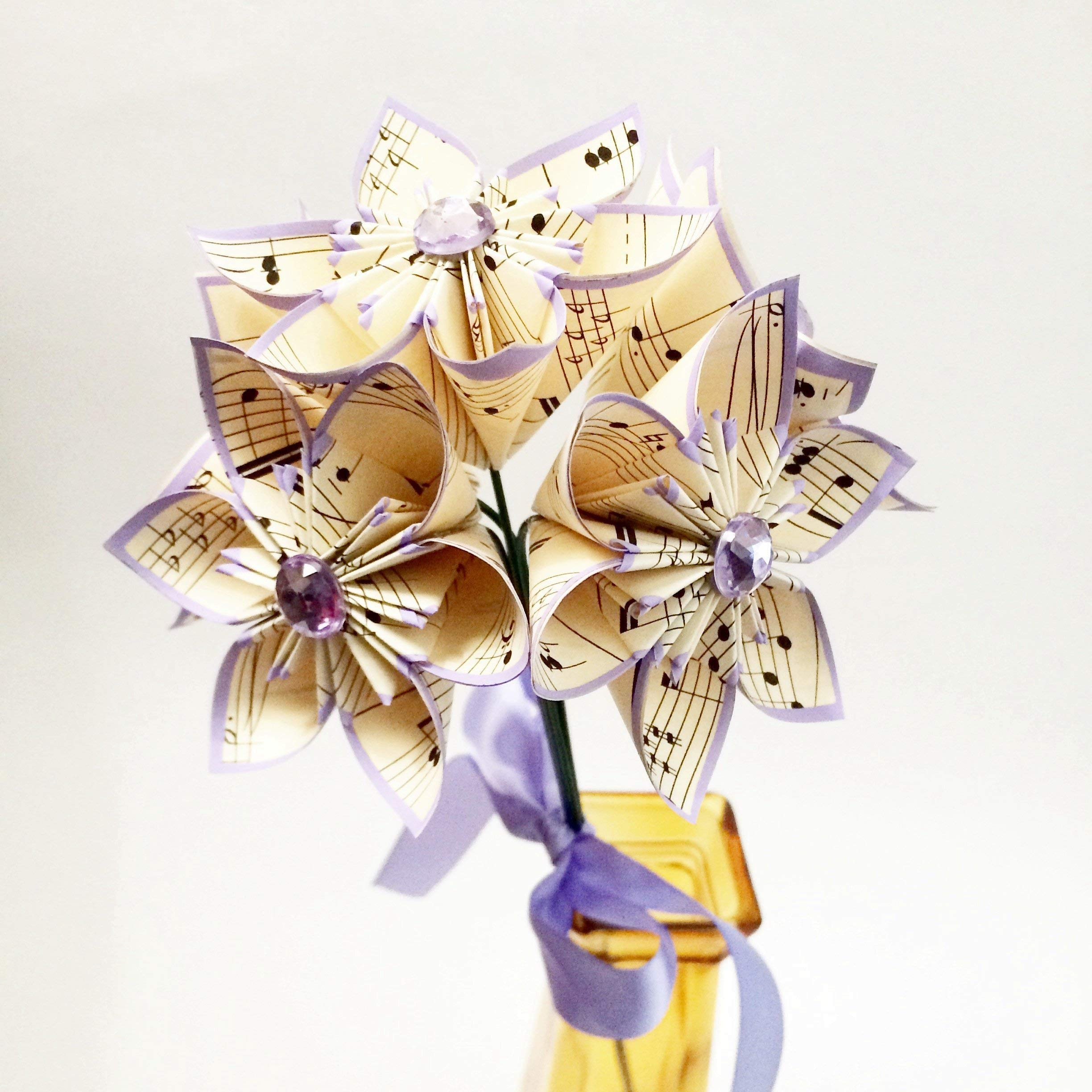 5 Sheet Music Paper Flowers Ready To Ship Handmade Small Lilac Bouquet Anniversary Gift Wedding Decor Small Bridesmaid Bouquet