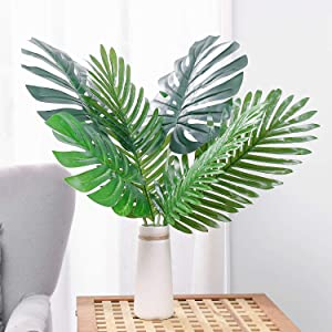 Artificial Leaves Tropical Monstera Leaves Palm Tree Leaf Plant DIY Decorations for Home Kitchen Wedding Party (3pcs Palm Leaves + 3pcs Monstera Leaves)