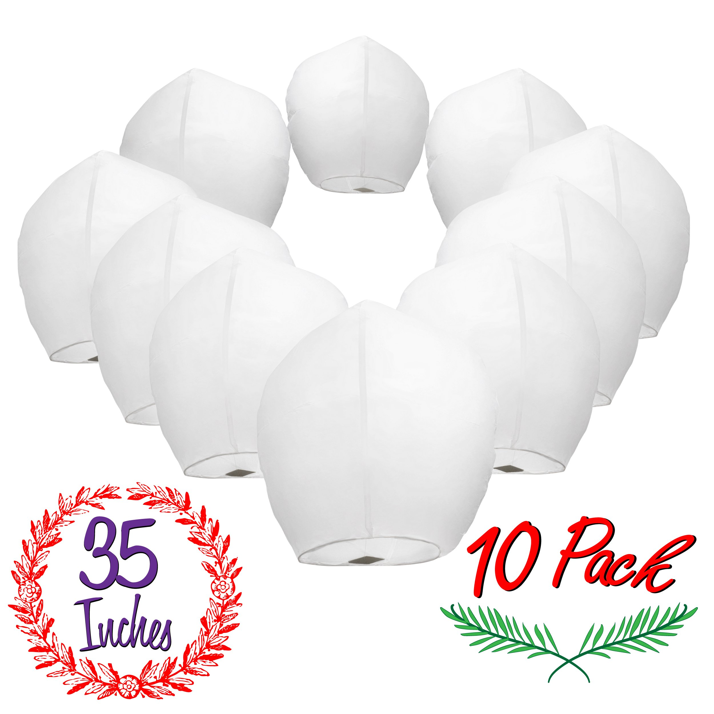 Chinese Sky Lanterns White Paper (10) Pack - Ready to Use and Eco Friendly - Extra Large - 100% Biodegradable - Beautiful Night Sky Lantern for Weddings, Chinese Festival, Memorials, etc. by Gracie's Goods