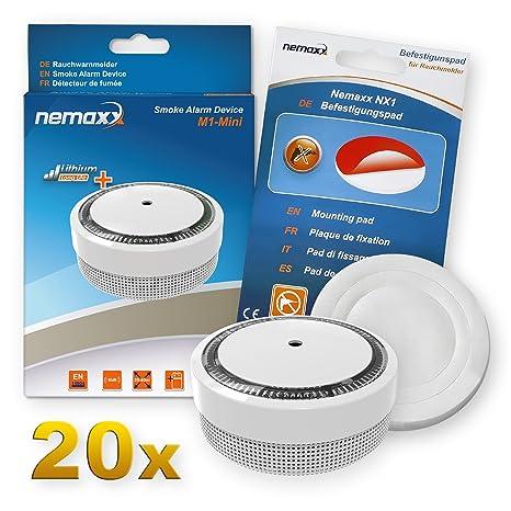 20x Nemaxx Detector de Humo M1-Mini sensibilidad ftoeléctrica - con batería de Litio Tipo