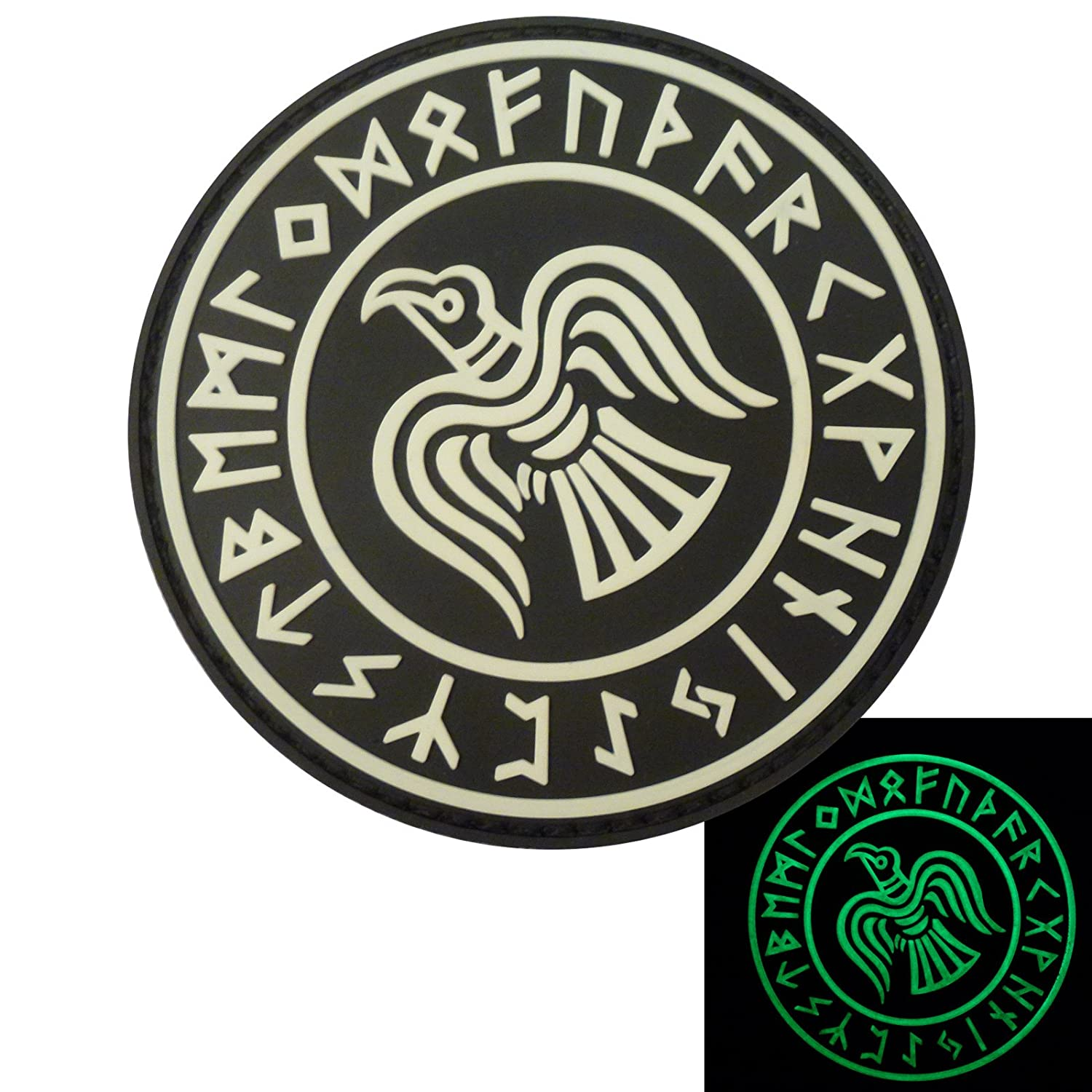 Glow Dark Rare Norse Viking Raven Runes Odin God of War Morale PVC Rubber 3D Touch Fastener Patch 2AFTER1 P.1792.1.V
