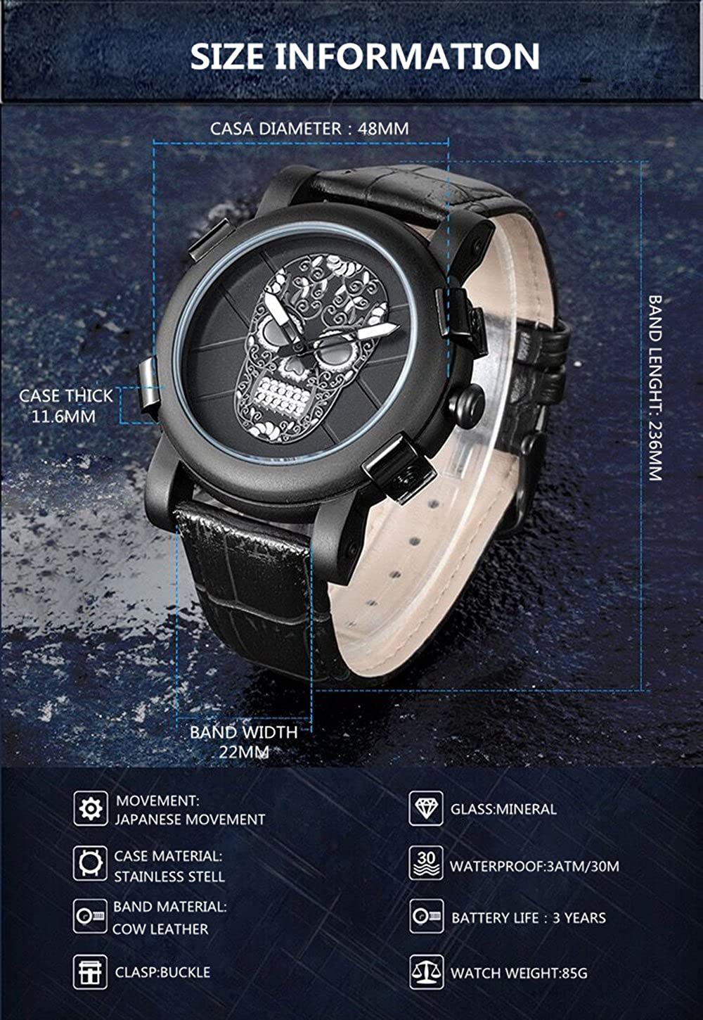 Amazon.com: Skull Watch Waterproof Casual Analog Christmas Gift Watches Clearance Genuine Leather Sport Watches for Men Relogio Masculino: Watches