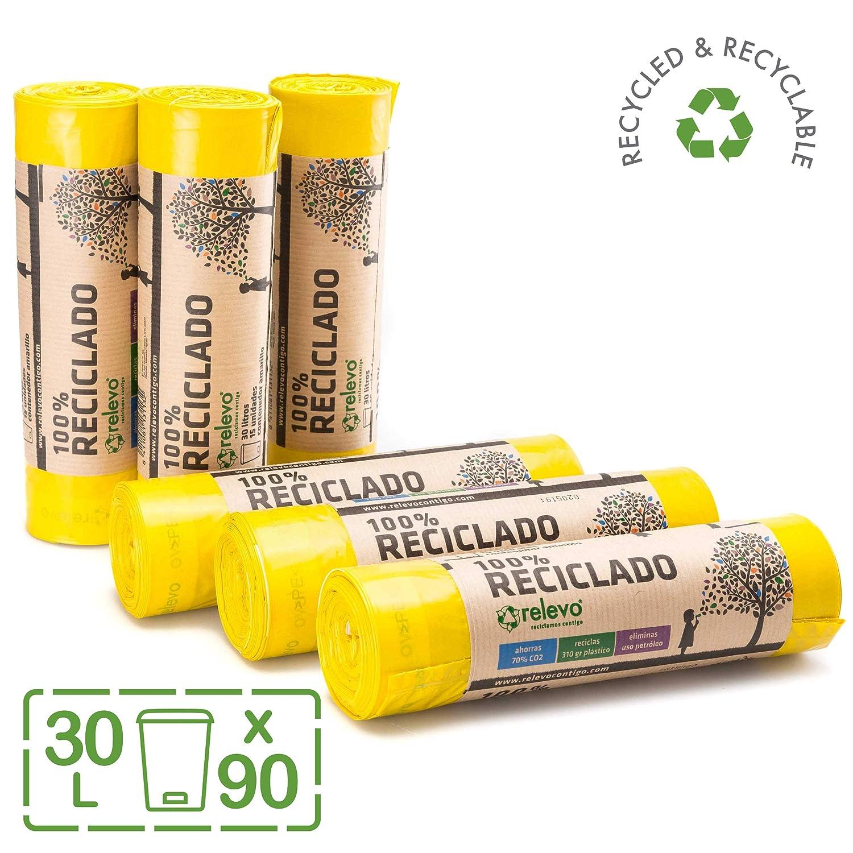 RELEVO 100% Reciclado Bolsas de Basura, Extra Resistentes 30 L, 90 Bolsas