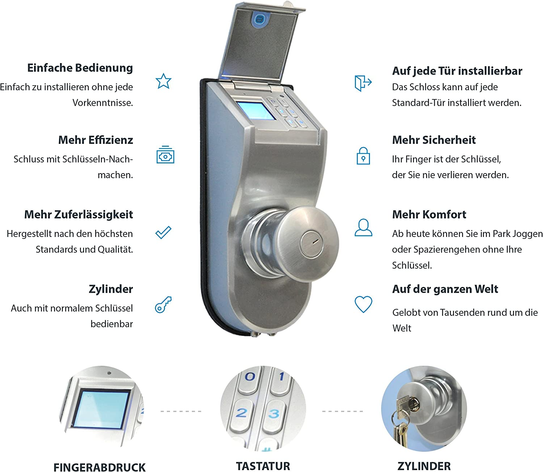 Neu Digital Stand Alone biometrisches Türschloss Fingerabdruck Code Türschloss
