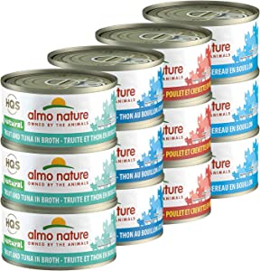 almo nature HQS Natural Variety Pack Grain Free Recipes in Broth - Atlantic Tuna(6)/Mackerel (6)/Chicken & Shrimps(6)/Trout & Tuna (6) Canned Wet Cat Food (24 cans in Total 2.47 oz Each)