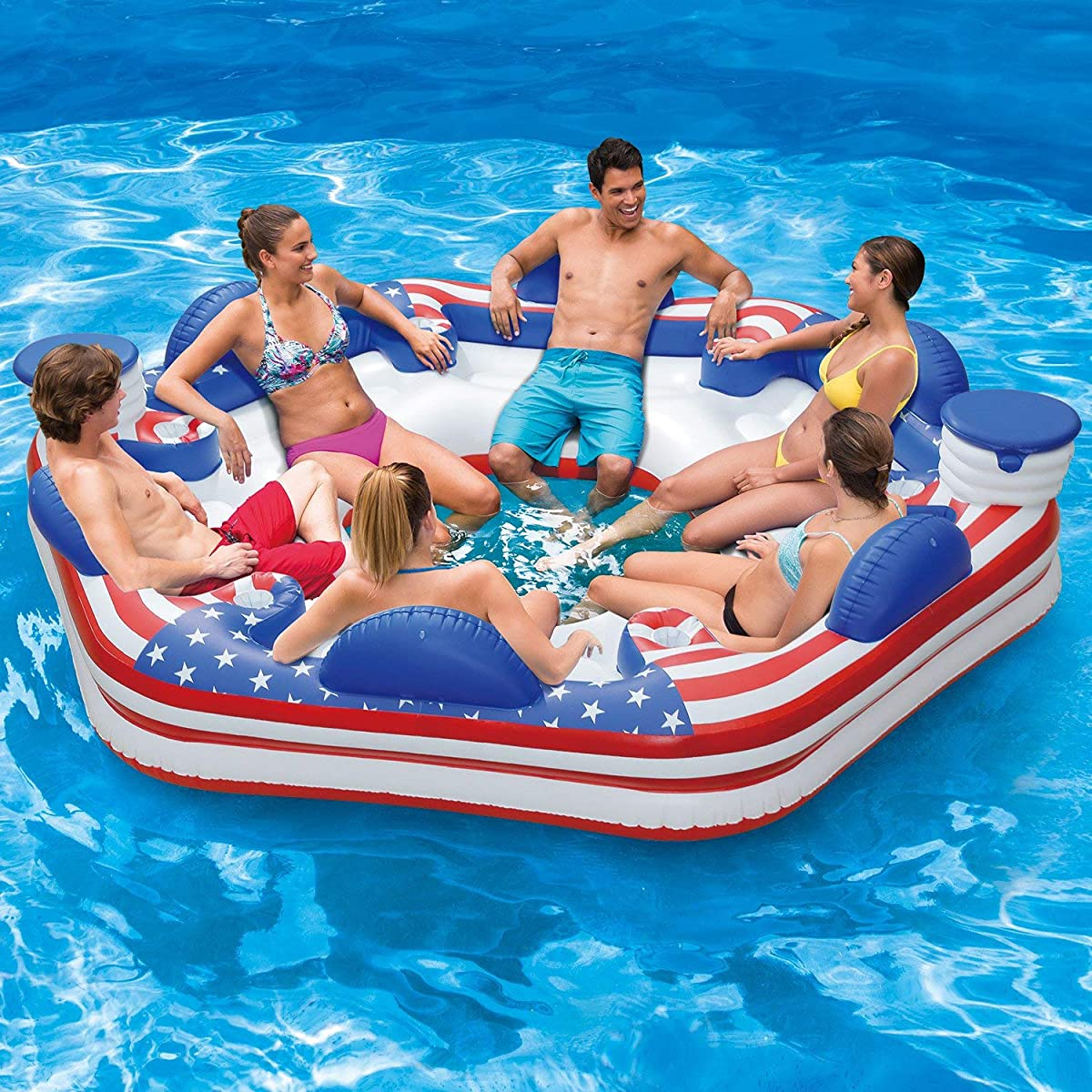 Summer Waves Inflatable Americana 6 Person Island Lounge Lake Float with Coolers