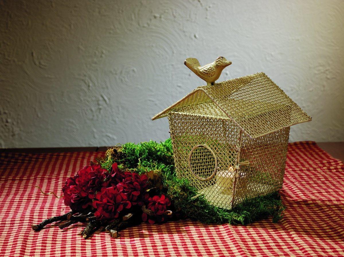 Large Cream Wire Birdhouse Tealight Holder