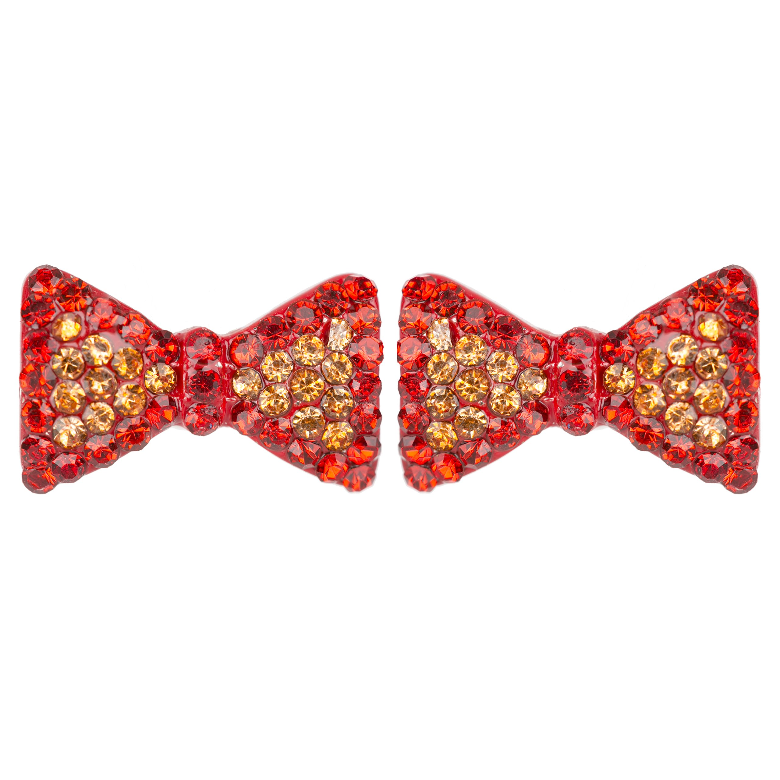 ACCESSORIESFOREVER Cute Crystal Rhinestone Bow Tie Design Charm Stud Post Earrings E1196 Red