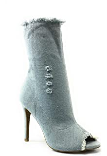 65ea2801de2 Wild Diva Sexy Light Blue Denim Distressed Open Peep Toe High Heel Booties  by Berlin-