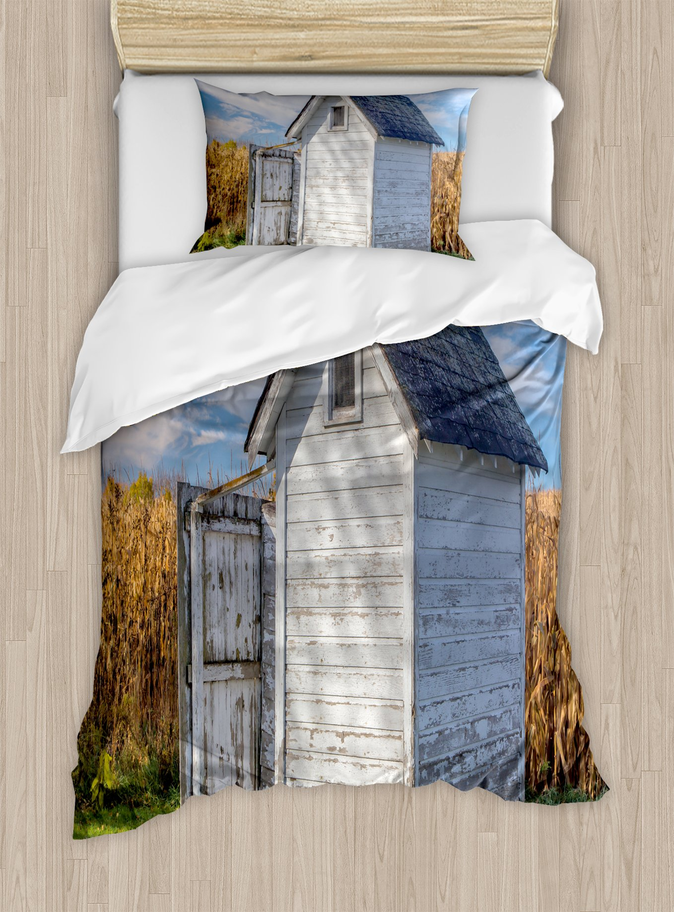 Ambesonne Outhouse Duvet Cover Set Twin Size, Country Farm Life Cottage with Wheat and Grass Under Sky Image, Decorative 2 Piece Bedding Set with 1 Pillow Sham, Marigold Green Blue and White