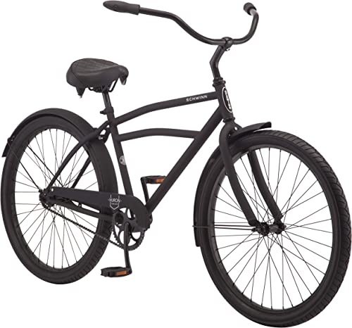Schwinn Huron and Mikko Adult Beach Cruiser Bike, Featuring 17-Inch Medium Steel Step-Over Frames, 1-3-7-Speed Drivetrains