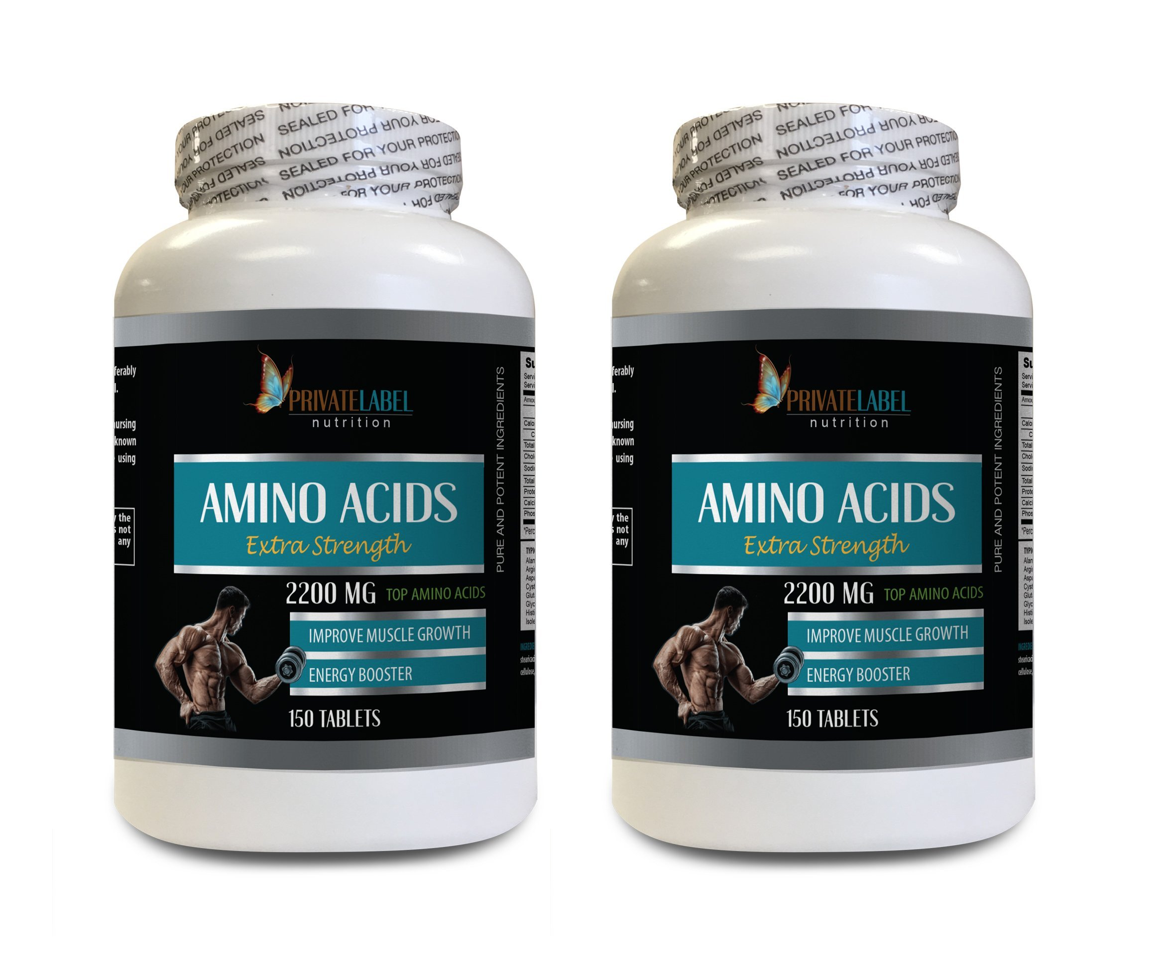 Muscle Building Male Testosterone Booster - Amino ACIDS Extra Strength 2200MG - Amino acids Plus glutamine - 2 Bottles 300 Tablets