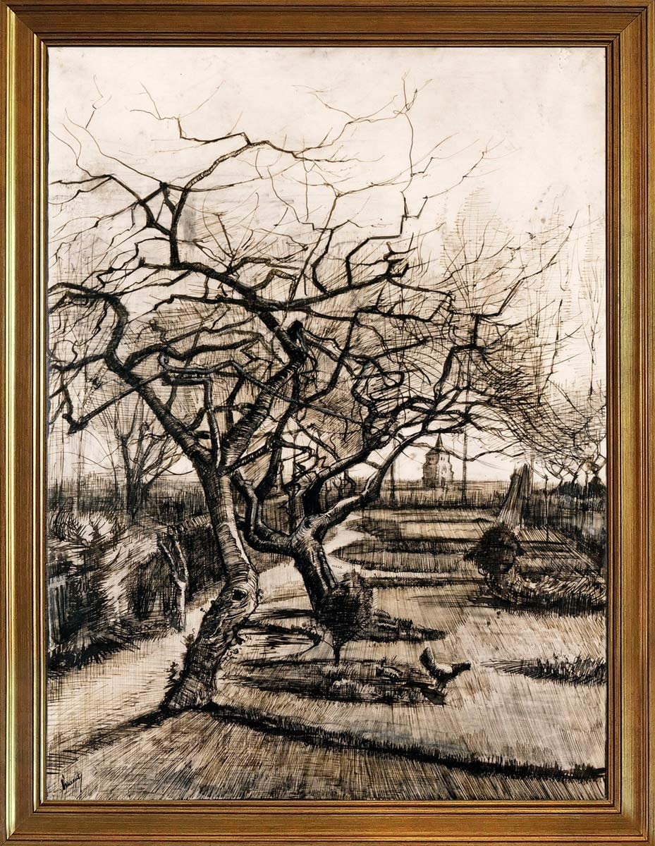 Berkin Arts Classic Framed Vincent Van Gogh Giclee Canvas Print Paintings Poster Reproduction(The Parsonage Garden at Nuenen in Winter) #JK