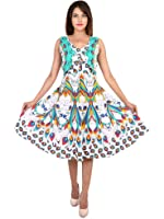 Jaipur Skirt Women's Cotton Printed New Fashionable Long Length Front Jacket Dress (MJBDRESS0151 - X-Large, Blue-Red)