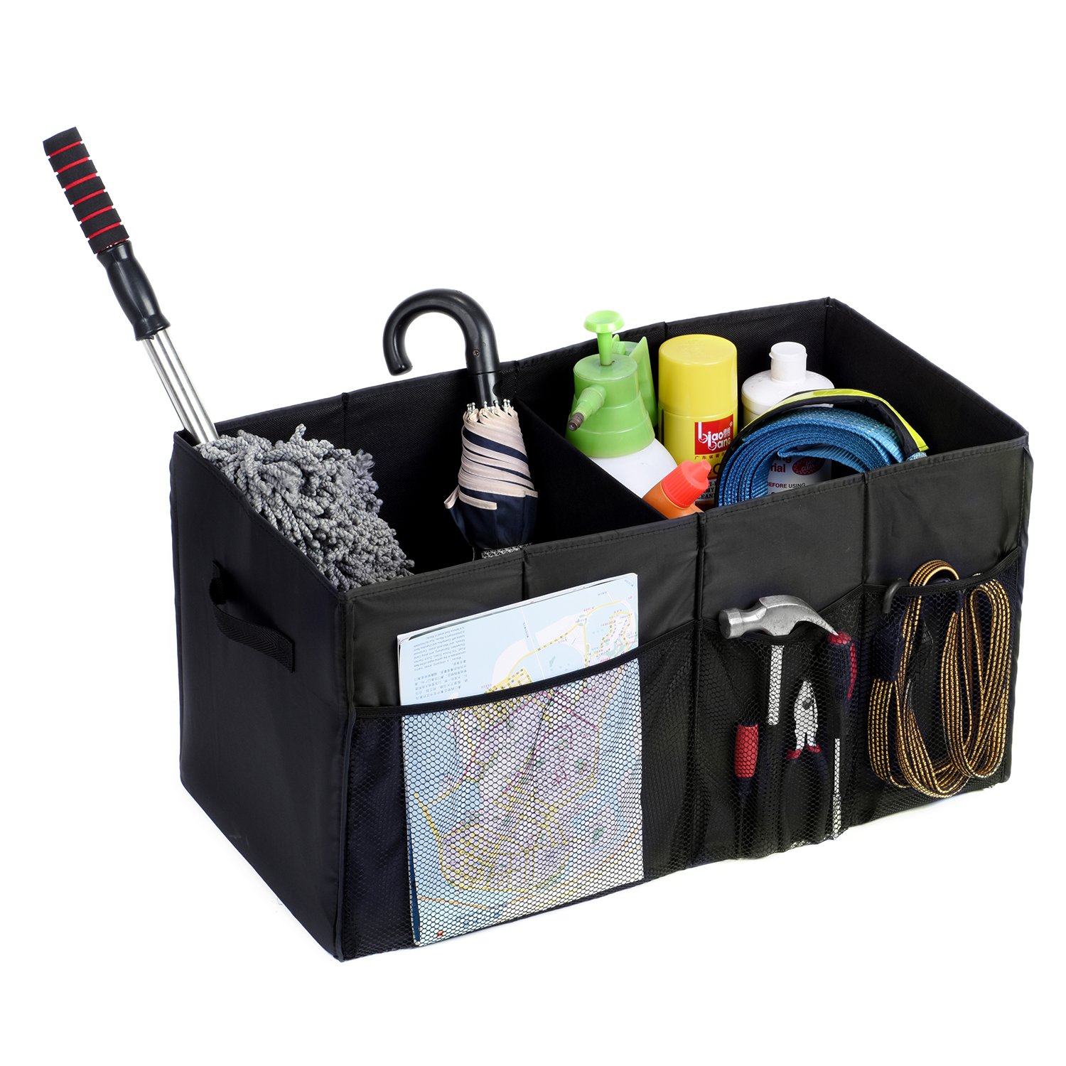 MaidMAX Car Trunk Organizer for SUV with Two Handles and Side Pockets, Foldable, Black, 25.5 Inches Long by MaidMAX (Image #2)