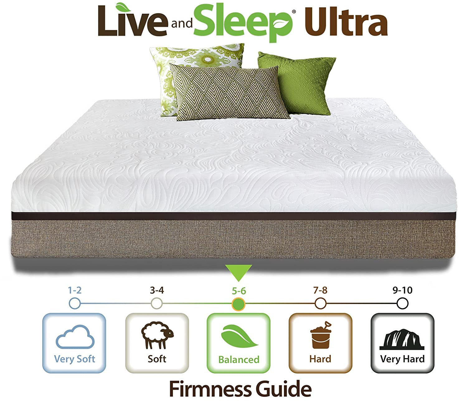 amazon com live and sleep resort ultra king size 12 inch medium