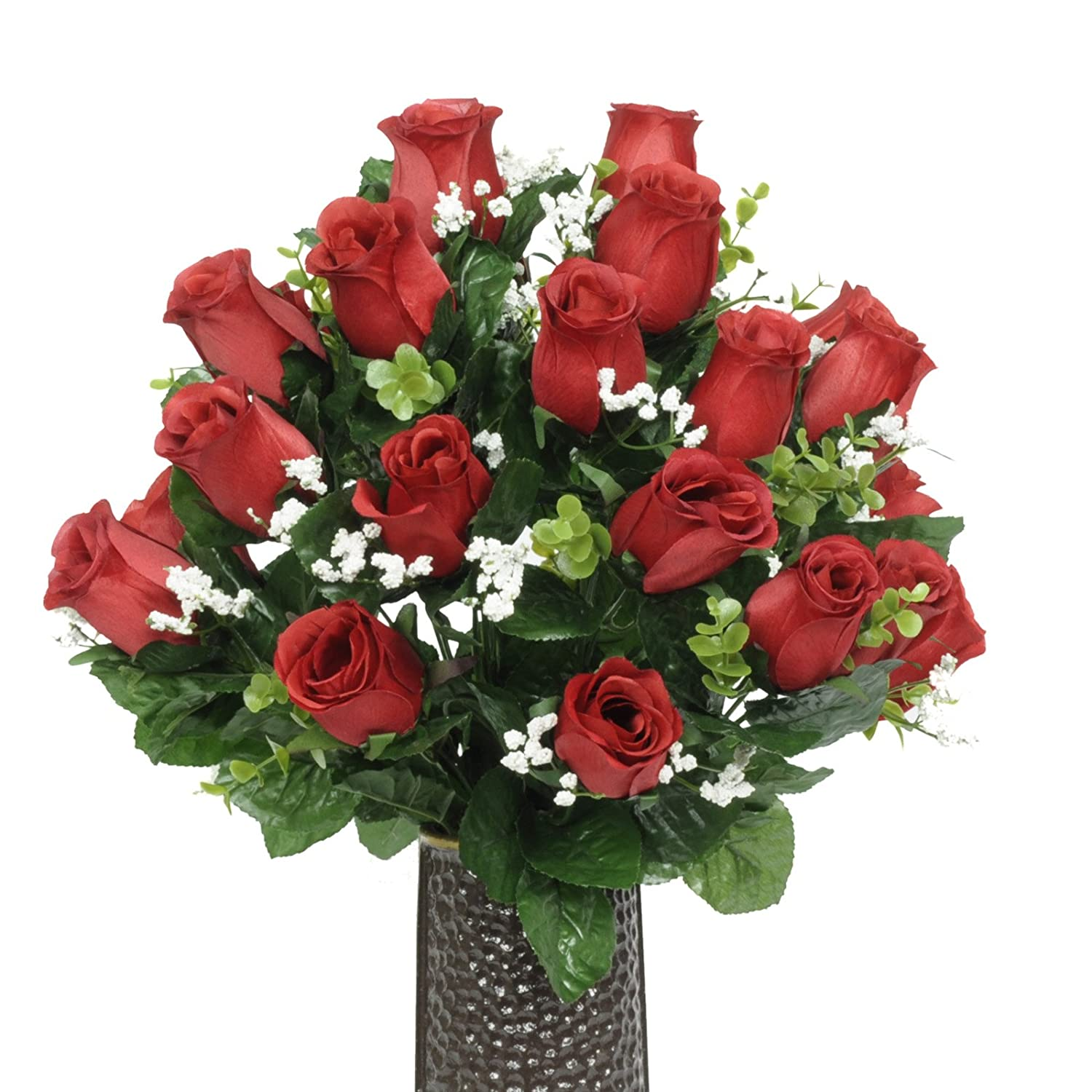 Shop amazon artificial flowers red rose silk flower bouquet with stay in the vase design flower izmirmasajfo