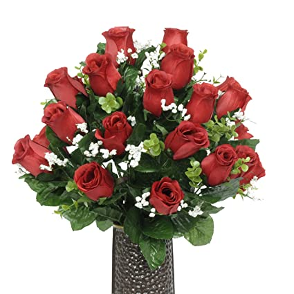 Amazon red rose silk flower bouquet with stay in the vase red rose silk flower bouquet with stay in the vase design flower mightylinksfo