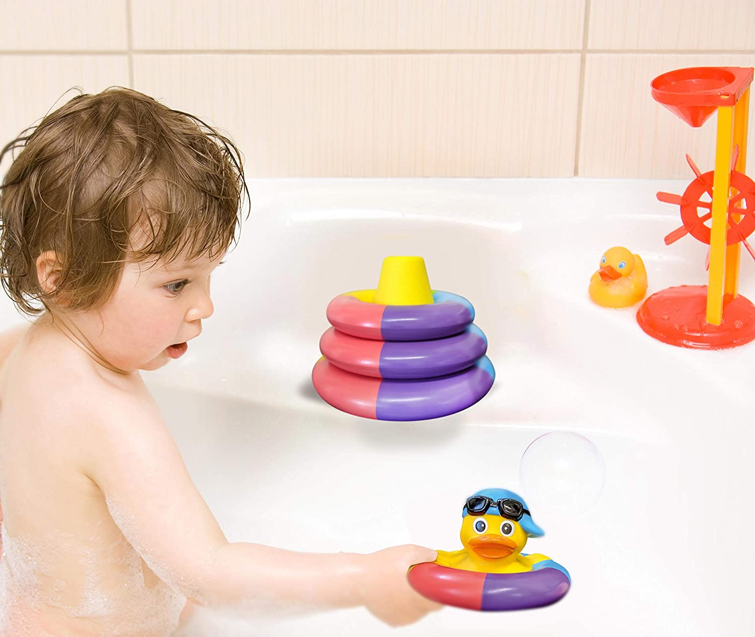 Float and Play Stacking Rings For Baby Toddlers and Kids Playahoy Floating Bath Toys For Boys and Girls