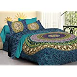 Tiger Exports Jaipuri Cotton Mandala Double Bedsheet with 2 Pillow Covers (King Size)