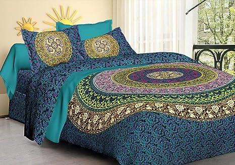 5dc04bafcd Tiger Exports Jaipuri Cotton Mandala Double Bedsheet with 2 Pillow ...