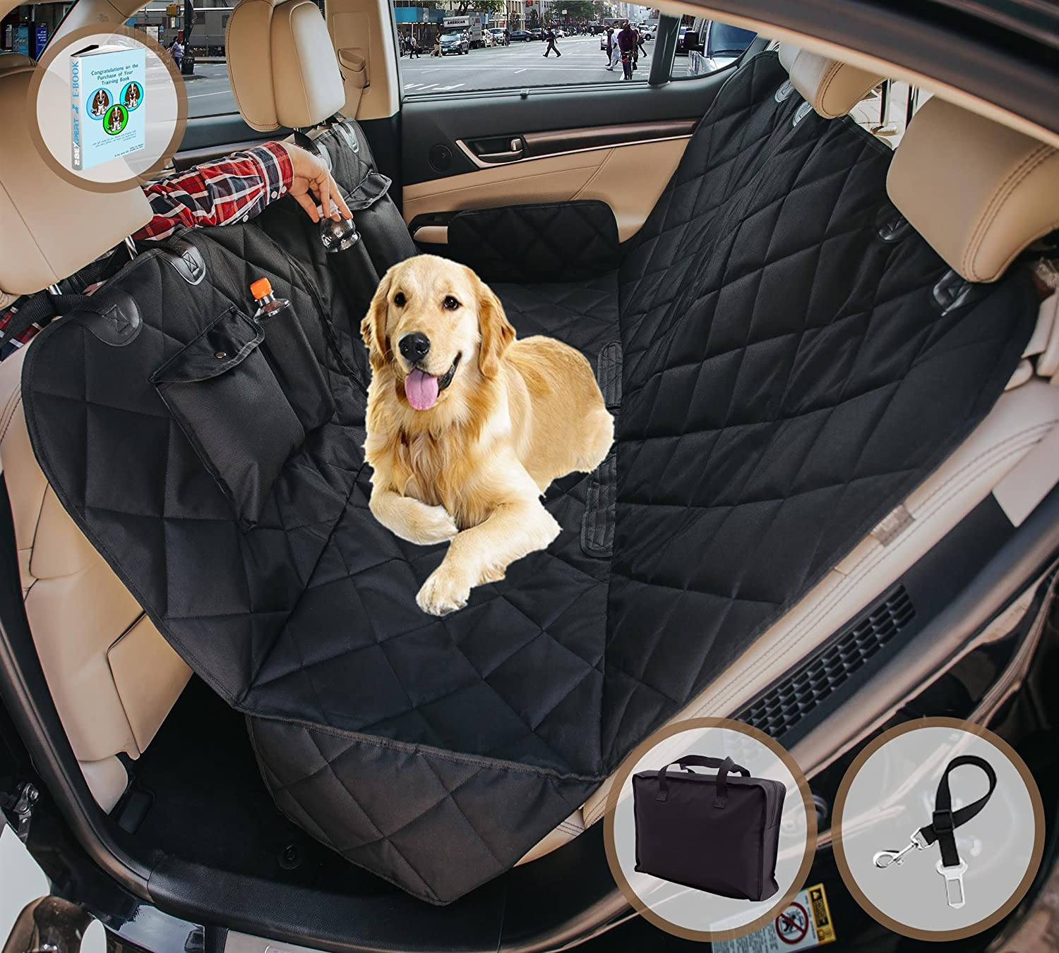 EVOest Dog Car Seat Cover, Pet Seat Cover for Cars Trucks SUV s, Hammock Convertible, 100 Waterproof Pet Back Seat Protector with Extra Side Flaps, Bonus Pet Seat Belt Tote Bag