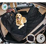 Dog Car Seat Cover for Cars/Trucks/SUV's,Hammock Convertible, Waterproof Pet Backseat Protector with Extra Side Flaps, Bonus Pet Seat Belt & Carry Bag