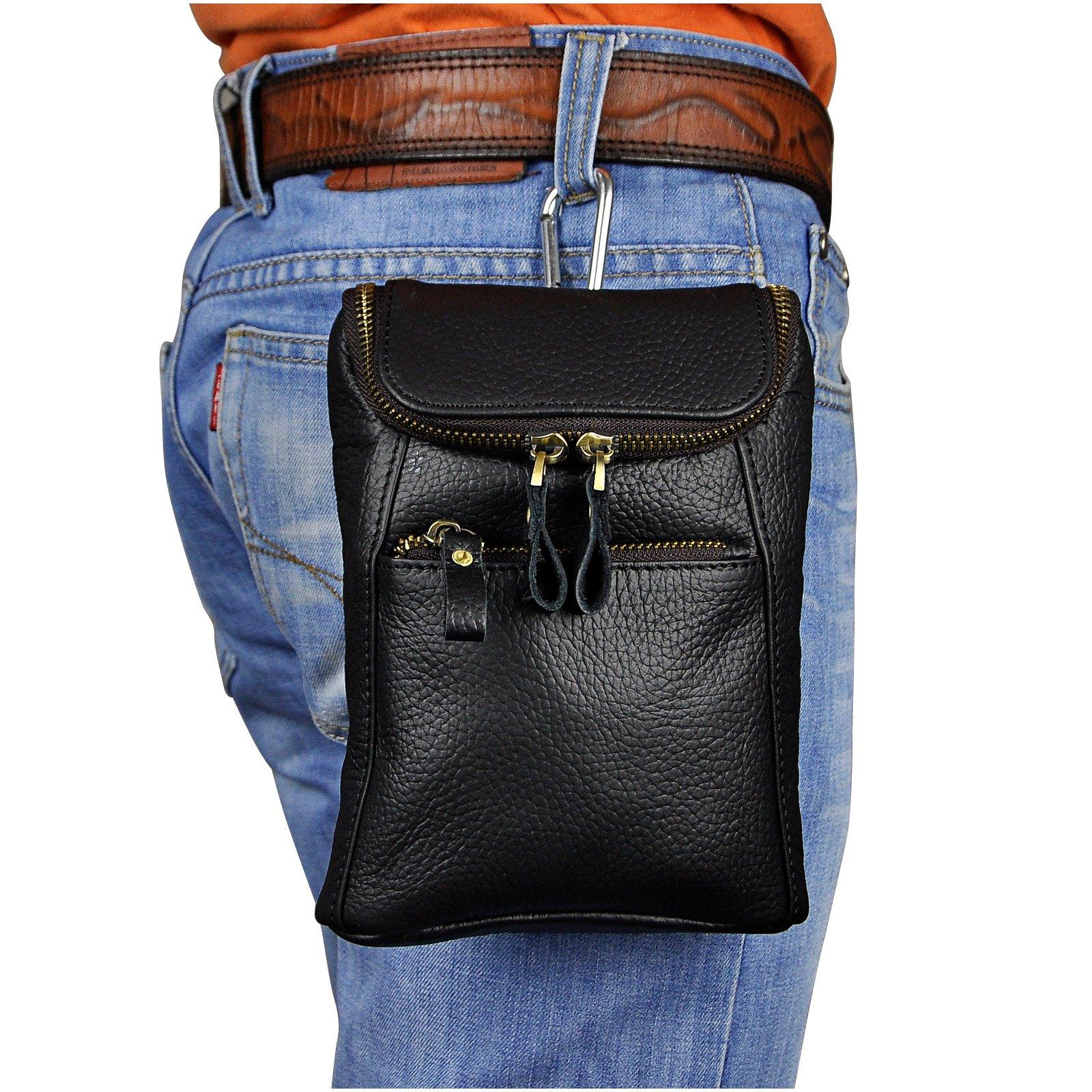 Le'aokuu Mens Genuine Leather Mini Messenger Shoulder Bag Pouch Hook Waist Bag Pack (The Black)