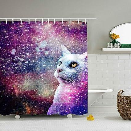 Amazon Lievon Home Polyester Fabric Galaxy Cat Bathroom Shower