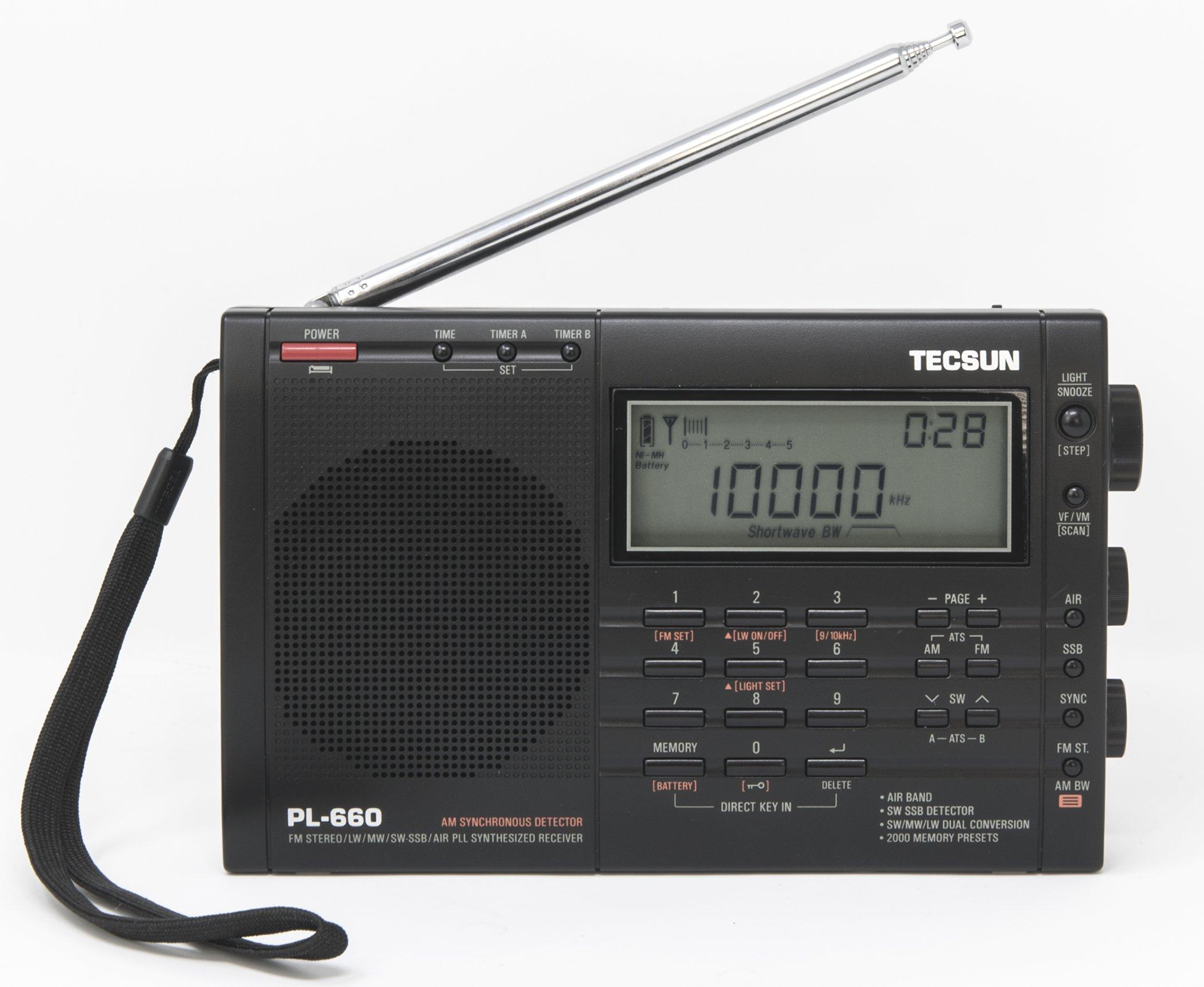 TECSUN PL-660 Portable AM/FM/LW/Air Shortwave World Band Radio with Single Side Band, Black