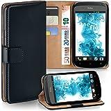 HTC One S Hülle Schwarz mit Karten-Fach [OneFlow 360° Book Klapp-Hülle] Handytasche Kunst-Leder Handyhülle für HTC One S Case Flip Cover Schutzhülle Tasche