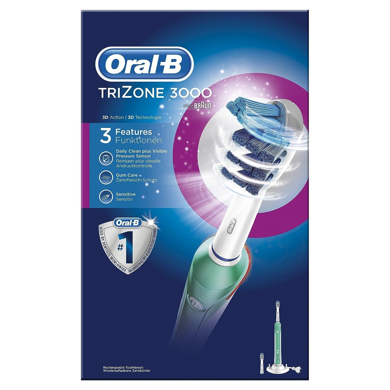 Oral-B TriZone 3000 - Cepillo de dientes eléctrico de rotación, color azul y blanco: Amazon.es: Salud y cuidado personal