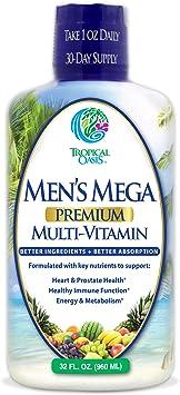 Men's Mega Premium Liquid Multivitamin w/CoQ10, Paba + 100 Additional Vitamins, Minerals, Amino Acids