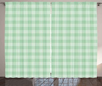 Ambesonne Mint Curtains Checkered Square Forms Geometric Tartan Nostalgic Artistic Old Fashioned Picture Living