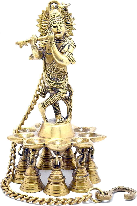 Home Decor Two Moustaches Krishna Hanging Brass Diya