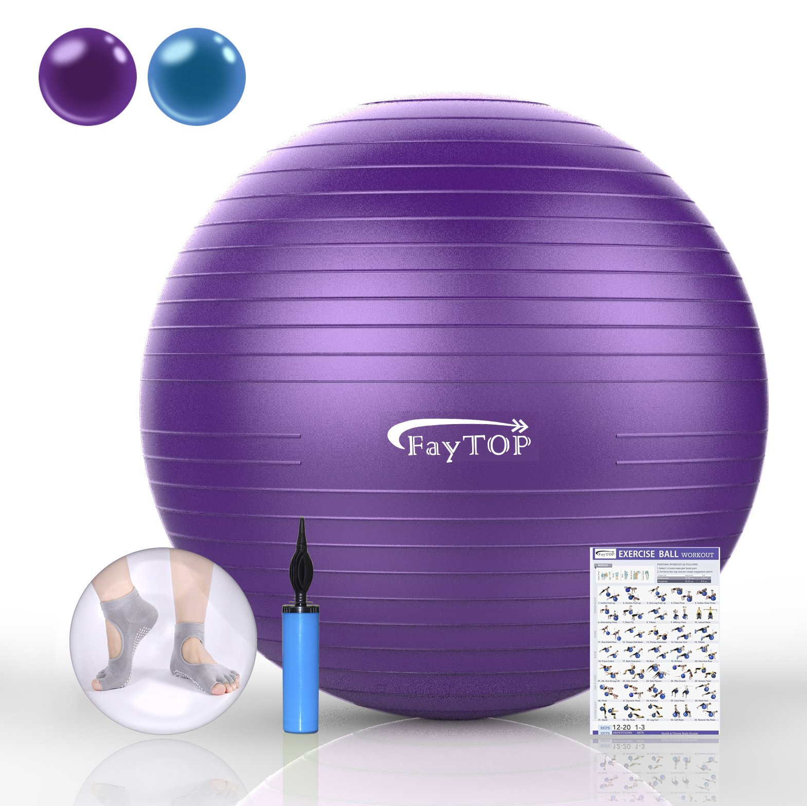 FayTOP 65cm Exercise Ball EXTRA THICK Frosted Surface 2200lb Capacity -Stability Ball, Yoga Ball, Birth Ball, Balance Ball, Pilates Ball, Fitness Ball -Includes: Yoga Socks, User Manual, Quick Pump