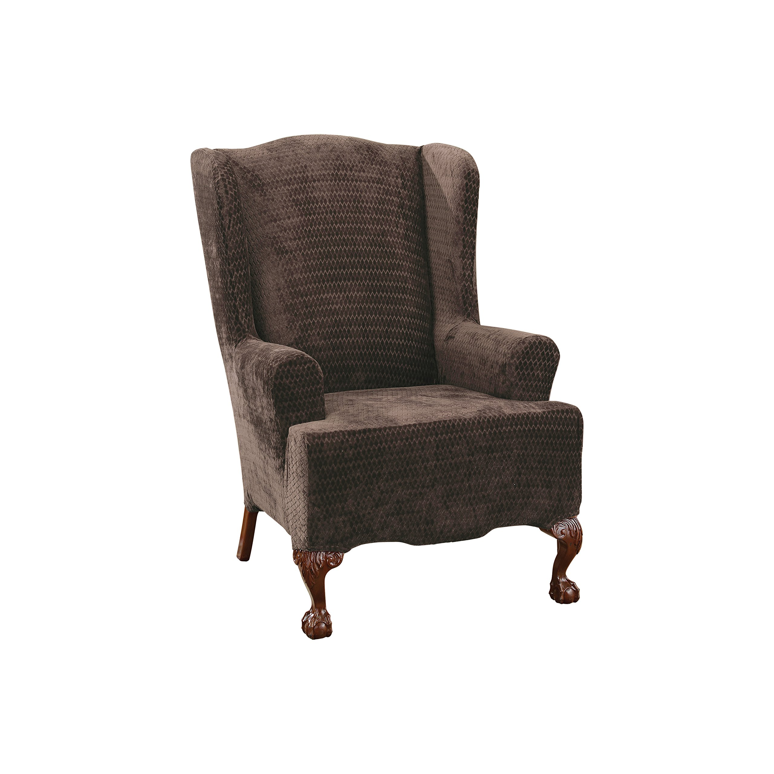 Sure Fit Stretch Royal Diamond - Wing Chair Slipcover  - Chocolate (SF36251)