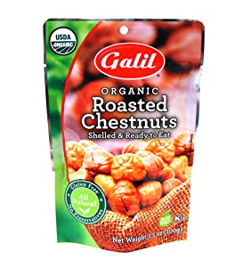 Galil Organic Roasted Chestnuts - 24 count x 3.5 oz Bags - Shelled - Ready to Eat Snack, Gluten Free, All Natural, No Preservatives - Great for Snacking, Baking and Cooking - 100% Vegan