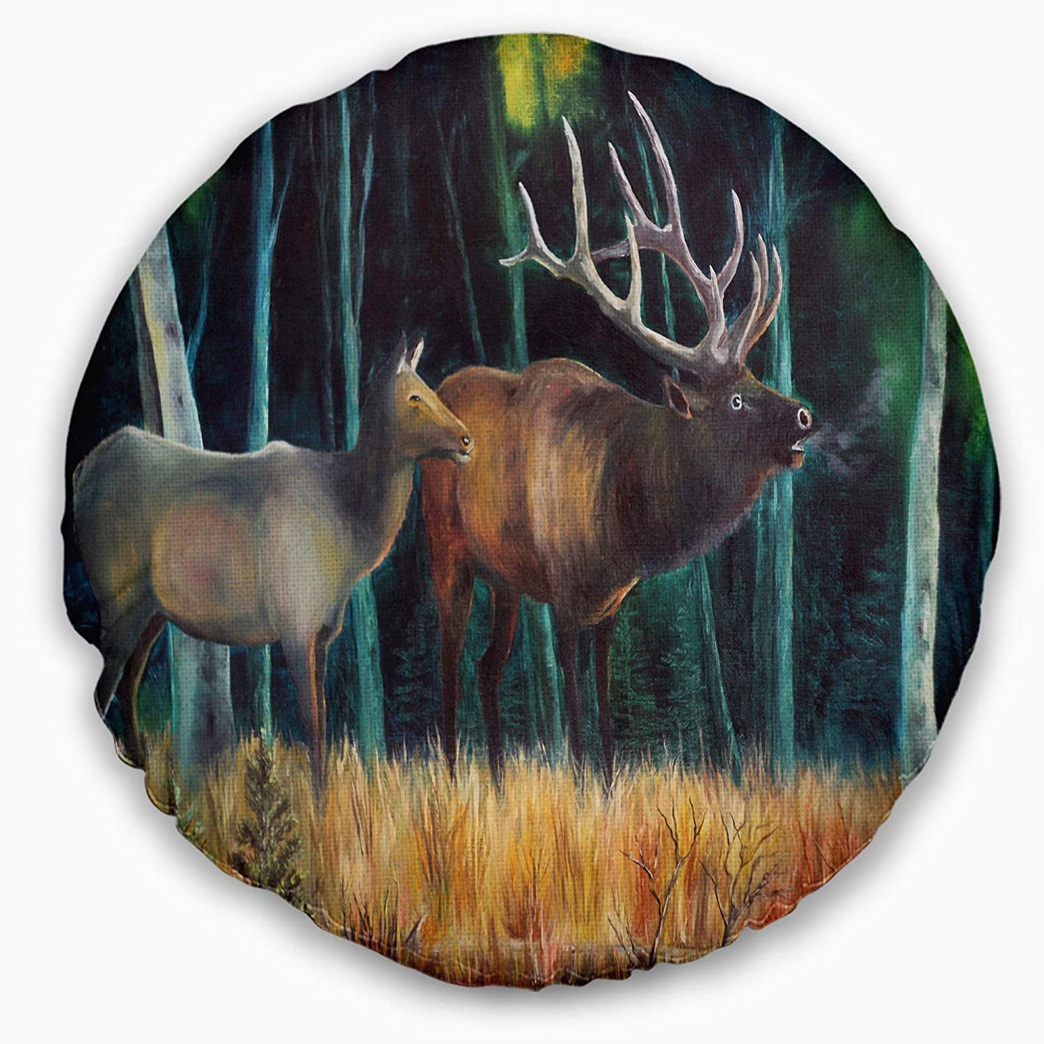 Insert Printed On Both Side Designart CU6178-16-16-C Wandering Deer in Forest Animal Round Cushion Cover for Living Room Sofa Throw Pillow 16