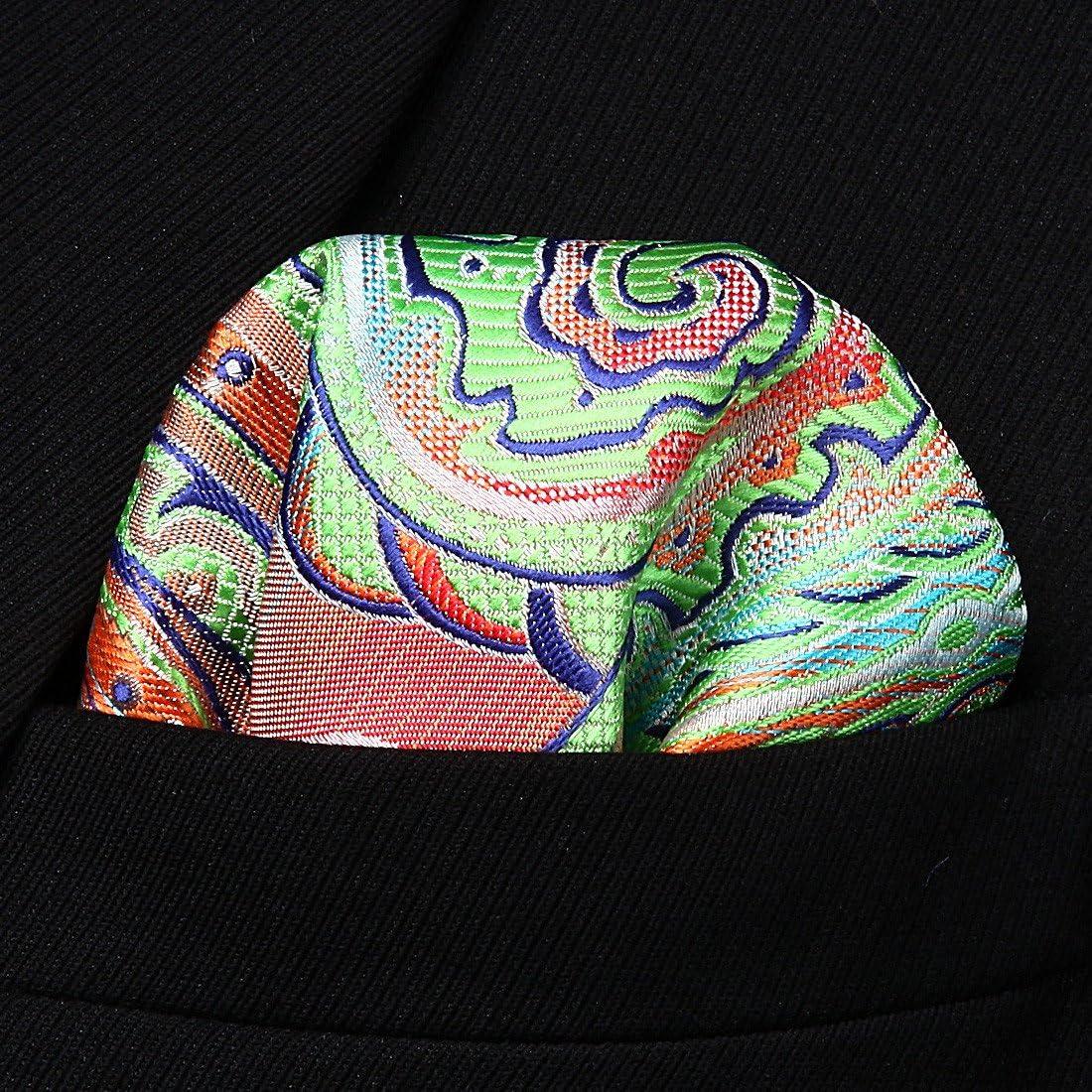 Enmain Paisley Floral Jacquard Woven Mens Wedding Silk Tie Pocket Square Necktie Set