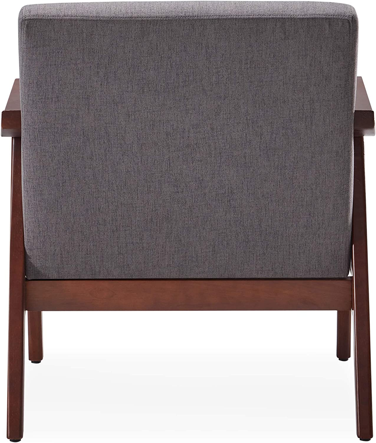 BELLEZE Mid-Century Modern Accent Chair Living Room Upholstered Linen Armchair with Wood Legs, Grey